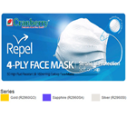 Repel Earloop Mask SAPPHIRE 50/Box. 4-Ply Quad-fold High Fluid Resistance