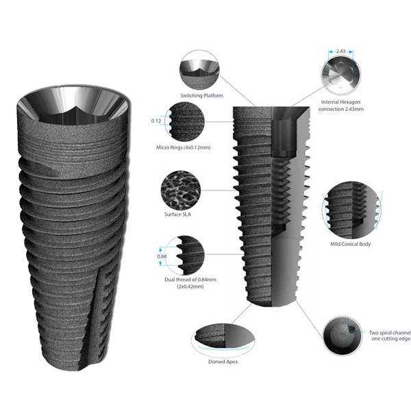 Prestige 4.2 mm Diameter 13 mm Length Dental Implant Compatible with MIS
