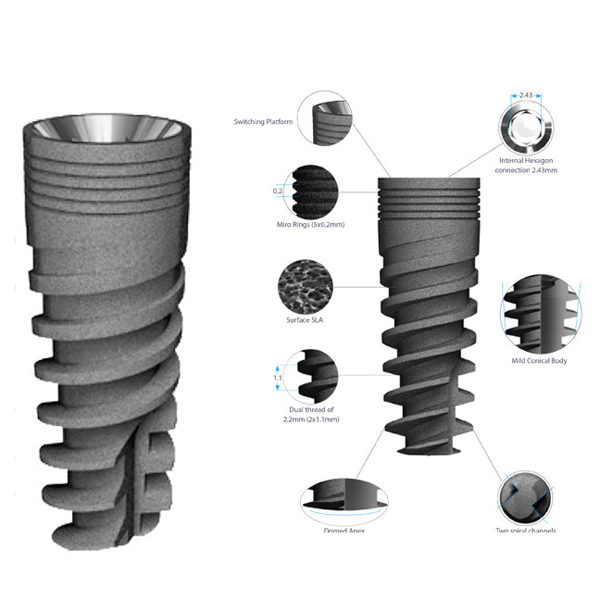 Rapid 3.3 mm Diameter 8 mm Length Dental Implant Compatible with MIS, Alpha-Bio