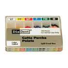 DiaDent Fine-Fine, Yellow Gutta Percha Points, Hand Rolled, Spillproof box of 100 points