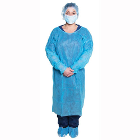 Dukal Isolation Gown - Elastic Cuffs with Waist and Neck Tie Closures, Blue