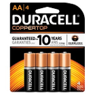 DURACELL Battery, Alkaline, Size AA, packaged as 4 packs, 56 packs per case