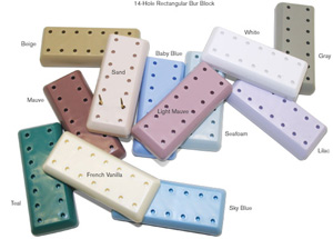 Bur Blocks 14 Hole Rectangular Teal Resin Magneti