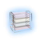 DUX Dental Tray Rack for Size B, Short Side Loading. Sturdy Chromed Steel