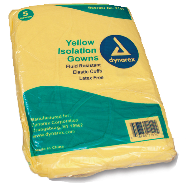 Dynarex Isolation Gowns 10/pk. Yellow, universal,