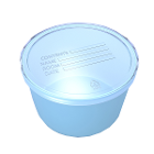 Dynarex Denture cup w/lid - Blue, 250/cs. Smooth, high-gloss finish for easy