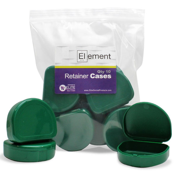 Element Orthodontic Retainer Case - Green, Bag of