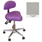Galaxy Hygienist Stool with Back Support - Cloud Grey Color. With 2-way adjustable height and back