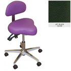 Galaxy Hygienist Stool with Back Support - Jet Black Color. With 2-way adjustable height and back
