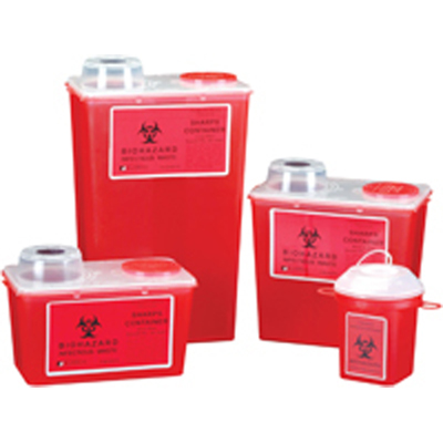 GPS Sharps Container, Red, Small size 4-quarts/1-
