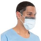 FluidShield Level 2 Fog-Free Mask with WrapAround Visor, Blue 25/Bx