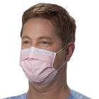Halyard Procedure Mask - Pink, Pleat-Style with Earloops, 3-Layer Construction