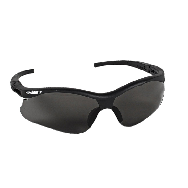 Nemesis Safety Eyewear Safety Eyewear -Smoke Hard Coat, Black frame with black