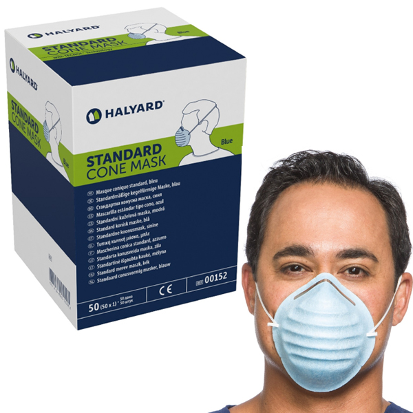 Mask With Cone-style Molded - Headband 3 Halyard Blue Protective