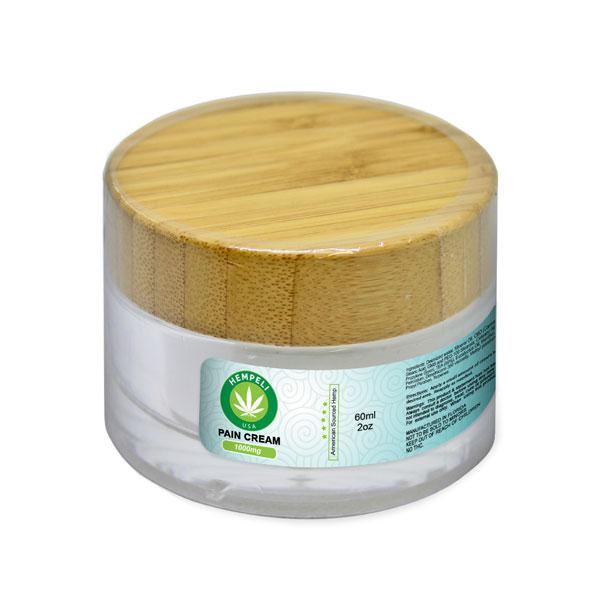 Pain Cream Hempeli pain relief cream - 2 oz  glass jar with 1000 mg of CBD