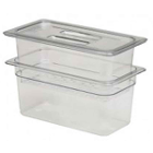 "House Brand Clear 4"" x 11"" x 13"" (6.3 qt) Instrument Soaking Tray with Strainer"
