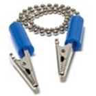 House Brand Bib Holder with Metal Chain and Metal Clips with BLUE Plastic
