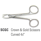 "House Brand 4.5"" Curved Crown & Gold Scissors with Smooth Blades"
