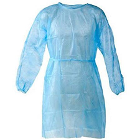 House Brand Isolation Gown with Elastic Cuff - Blue, one size fits all. Package