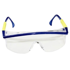 House Brand Safety Glasses, Blue frame, Clear Lens, Polycarbonate, Adjustable