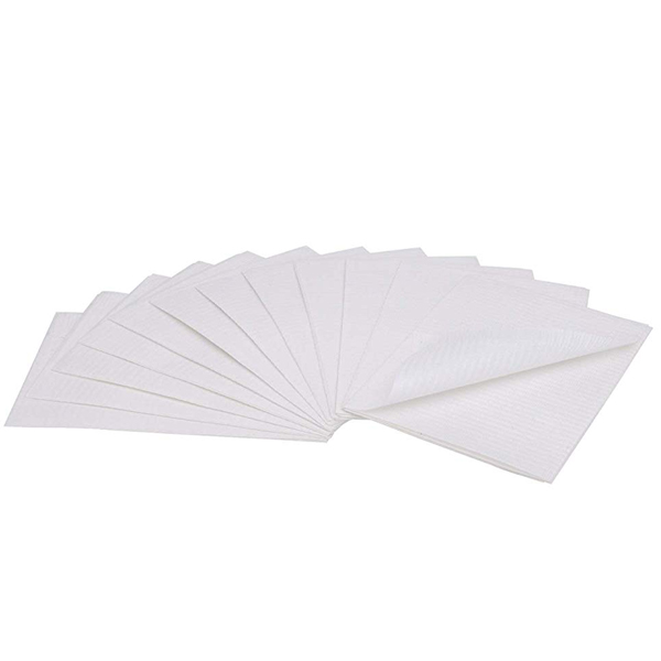 "House Brand Patient Bibs WHITE 13"" x 18"" 2-Ply Pa"
