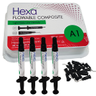 Hexa Flowable Composite A1 - 4 x 2 gm syringes and 20 bent Tips. Light cure