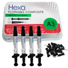 Hexa Flowable Composite A3 - 4 x 2 gm syringes and 20 bent tips. Light cure