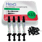 Hexa Flowable Composite A3.5 - 4 x 2gm syringes and 20 bent tips. Light cure