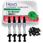 Hexa Flowable Composite B1 - 4 x 2gm syringes and 20 bent tips. Light cure, low