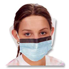 iSmile Earloop Pleated Mask with Shield, Blue 25/Bx. Fluid Resistant, Fog free