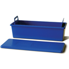 "Cidex Blue 13"" x 7"" x 5"" Soaking Tray with Perforated Inner Liner and Lid"