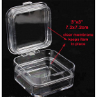 "JSP Crown Pillow Box 3"" x 3"" tall 50/Pk. Made of clear plastic with two clear"