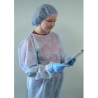 IsoTek Disposable Isolation Gown with knit cuff & open back - Blue, 10/pk