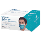 SafeMask Premier Elite Pro-Shield Teal Face Mask with Eye Visor, 25/Bx. ASTM