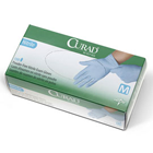 Curad Nitrile Exam Gloves: MEDIUM 150/Bx. Powder-free, Lightly Textured, Blue, CHEMO rated, Beaded