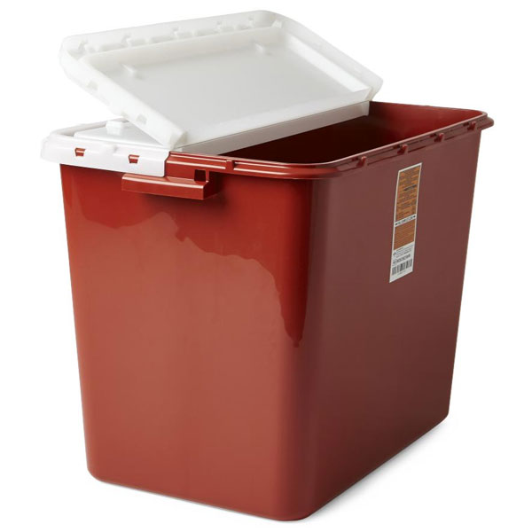Medline Biohazard Containers - Red, 10 Gallon wit