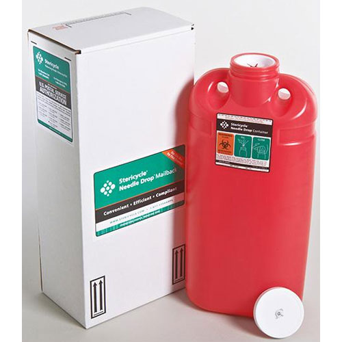 Medline Sharps Mail-Back Containers - Red, 3 Gall