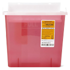 Medline Biohazard Patient Room Sharps Containers - Red, 3 Gallon with Lid