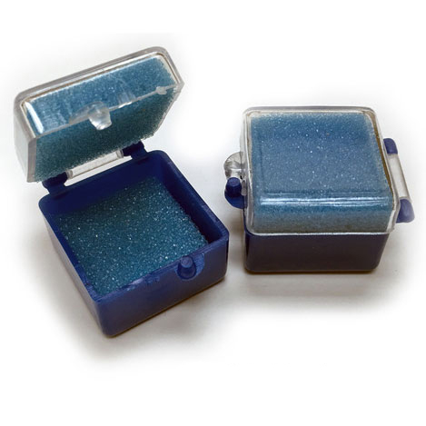 "BesQual Crown Boxes - 1"" x 1"", Blue Bottom / Clea"