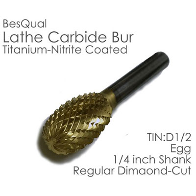 "BesQual D-1/2 Egg Lather Carbide Bur 1/4"" Shank,"