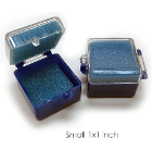 "BesQual Crown Boxes - 1"" x 1"", Blue Bottom / Clear Lid with Blue Inserts"