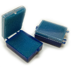 "BesQual Crown Boxes - 2"" x 2"", Blue Bottom / Clear Lid with Blue Inserts"
