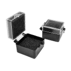 "BesQual Crown Boxes - 1"" x 1"", Black Bottom / Clear Lid with Black Inserts"