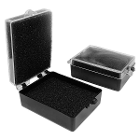"BesQual Crown Boxes - 2"" x 1.50"" x 0.85"", Black Bottom / Clear Lid with Black"
