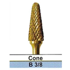 "BesQual B-3/8 Cone Lather Carbide Bur 1/4"" Shank, Titanium Nitrite Coated 1/Pk"