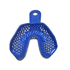 Btrays Resin Coated Trays - Medium Lower Arch, Blue 12/Pk. Metal, Resin Coated