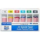 Meta Gutta Percha Points - Assorted #15,20,25,30,35,40 Taper size 0.04, Color Coded, Spill-Proof