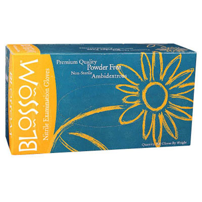 Blossom Nitrile Gloves: LARGE 100/Bx. Blue, Powde