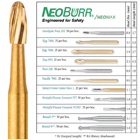 NeoBurr FG #7404 12-Blade Egg Shaped Trimming and Finishing Burs, Pack of 25