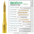 NeoBurr FG #7901 12 Blade Needle Shaped T and F Bur. Package of 25 Burs